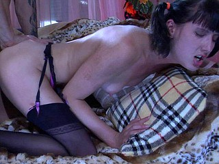 Ponytailed cutie in black nylons gobbling on a boner and getting it raw