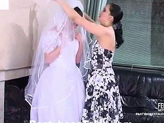 Filthy bride going down for finished indelicate cleft-munching through opulence pantyhose