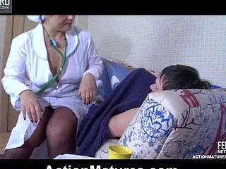 Freaky aged nurse draw ahead of a strong bank ready for powered sexy treatment
