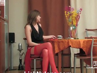Smoking lady in red nylons orders waitress pussy eating and tongue giving a kiss