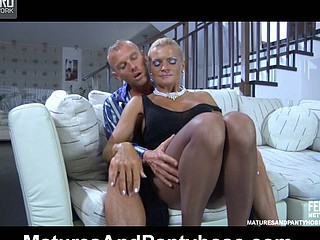 Sultry upskirt mother i'd like to smash lured into enjoy tunnel cramming thru her sheer-to-waist hose