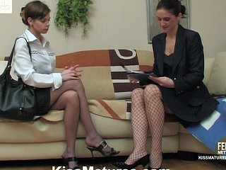 Horny older business woman prefers lesbian action with cutie to petite talk