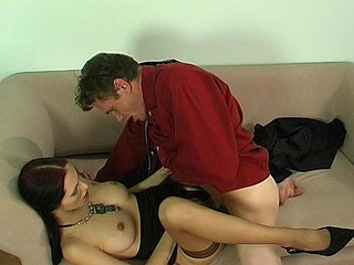 Pretty chick and her mature co-worker exchanging oral job previous to wild scoring