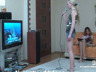 Sylvia&Clare devoted nylon footsex