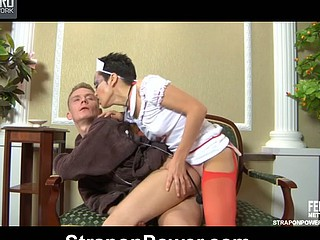 Wicked nurse fingers and ding-dong bonks the butt of her obedient male patient