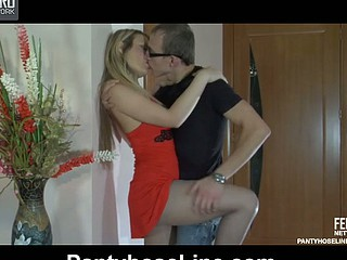 Sultry blond in a red dress and grey tights gets dicked after muff-diving
