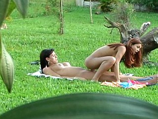 Lascivious tgirl having freaky enjoyment in astonishing from behind fucking outdoors