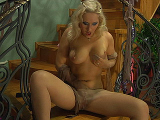 Grotesque golden-haired plays with hosiery and gets pumped by a nylon addicted fellow