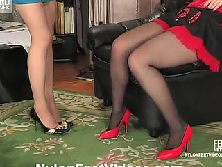 Sweltering suitor opening her mouth aching to snip feet in silky hose