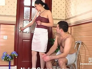Horny chick in satin sheen nylons engulfing on penis and begging be beneficial to more