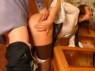 Pony-tailed sweetheart teasing a policeman with her beefy soaked crack through pantyhose
