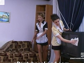 Sexy French maids tongue-polishing pantyhose clad wet cracks during the break