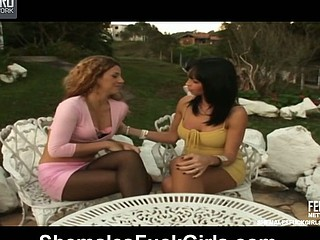 Carla&Patricia shemale with an increment of pussygal on movie scene