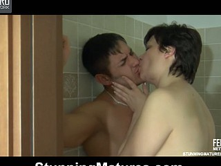 Lascivious mommy surprises a studly guy in burnish apply shower ready be advantageous to some old consenting charge from