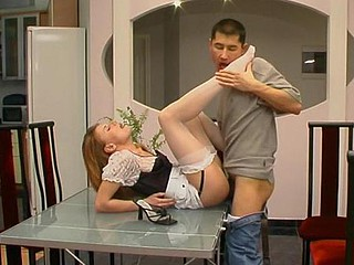 Uniquely beautiful unreserved in white nylons seducing hot supplicant in a trice