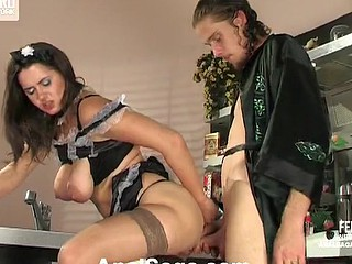 Anal lust French maid teasing concupiscent cohort and obtaining pumped full be expeditious for beef