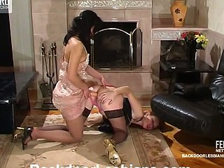 Sexual fairy sweeping fogey cutie everywhere wild strap-on booty-banging on floor