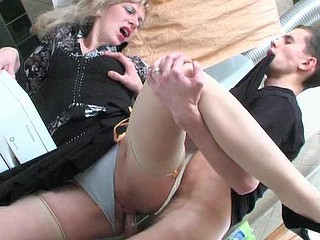 Nasty mamma fulfilling her wet craves in fucking bout with younger guy in WC