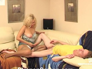 Salacious gal getting into freaky mood during the time that strap-on fucking her boyfriend