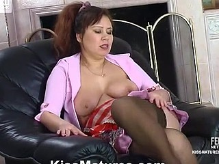 Older French maid doing her work previous to beauty-on-cutie action with hawt honey