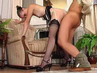 Stockinged French maid eagerly showing what this cosset hides below her panties