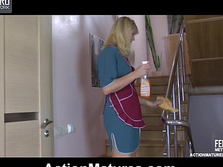 Golden-Haired mature maid gets her skirt hiked up for cowgirl and doggie riding