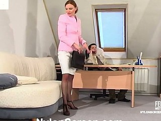 Lusty secretary in silky nylons giving legjob itching for stiff reward