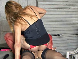 Red-stockinged gal having wild lesbo sex with a black-stockinged shelady