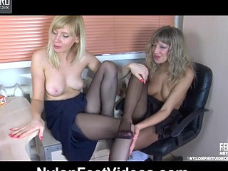 Nora&Paulina kinky nylon feet movie scene