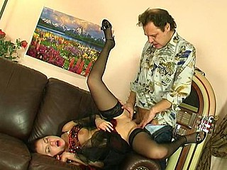 Nasty party-cutie offering a wanking old dude her soaked mouth and constricted slit
