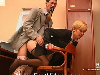 Lewd co-worker sniffing high heel shoes whilst ravaging sexy gal in black hose pipe