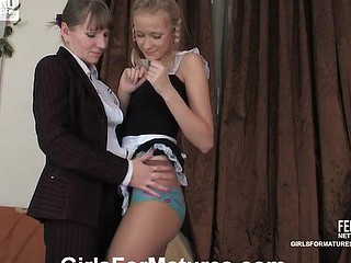 Pigtailed French maid in a skimpy uniform fingering and eating an old muff