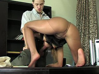 Sex-starving essayist old geezer her boss with tasty feet in shiny hose