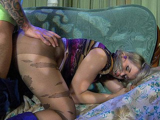 Nasty fuckslut in fashion hose lets her petticoat ride up and expose her bottom