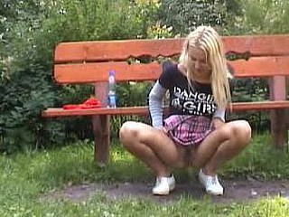 Golden-Haired pees outdoors