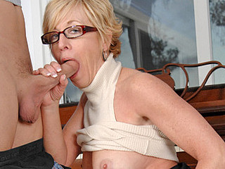 Sexy mother i'd like to fuck in glasses sucks and copulates her guy toy