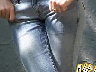 Public jeans wetting increased by gazoo close-ups