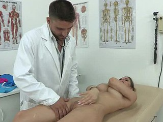 Rachel is highly stressed with a personal situation and pays a visit to the doctor to see if that stud can prescribe some tranquilizers. But with the new rules that stud can't just give medicine away like that. However, what this stud can do is perform some relaxation exercises and they are so good that Rachel wants to go for greater amount and this stud gives her his cock to gargle and such a great fuck that that cutie forgets all her problems.
