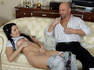 Young wench liked the way her old teacher drilled her throat and penetrated her taut and wet fur pie.