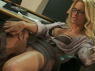 Office sex with blonde in glasses Jessica Drake
