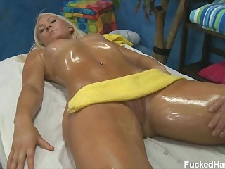 Sexy massage for 18 year old blonde beauty