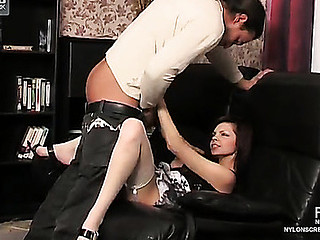 Upskirt teaser clad in white plain top nylons getting licked and drilled