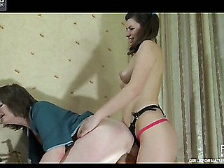 Old housemaid getting attacked by her unruly dong-armed young mistress