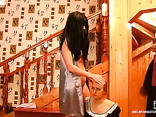 Cute French maid pulls up her petticoat serving her all sexed up older domme
