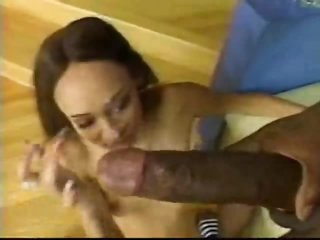 Skinny girl sits on giant black dick