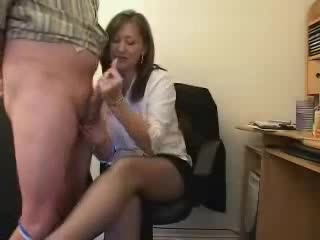 He lets the secretary smack his cock and balls