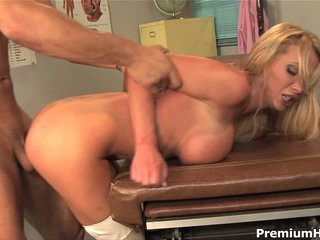 Busty blonde haired nurse Nikki Benz in sexy white stockings and white boots gets brutalized by horny as hell man this babe sticks his pecker in her bawdy cleft and bangs her coarse after blowjob and tittyfuck.