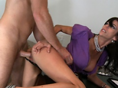 Alexys gets her pussy pounded as she is bent over her work desk....