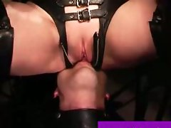 Bonded inept slave man eats domina pussy and ass