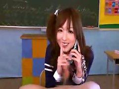 CFNM Japanese schoolgirl teen handjob with cumshot
